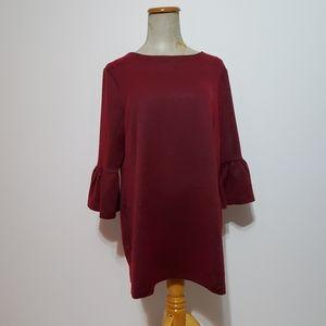 Cleo Petites bell sleeved red/black long Top